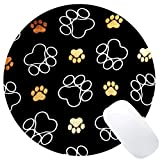 Wknoon Cute Dog Paw Prints Round Mouse Pad Gold White Circular Mouse Pads