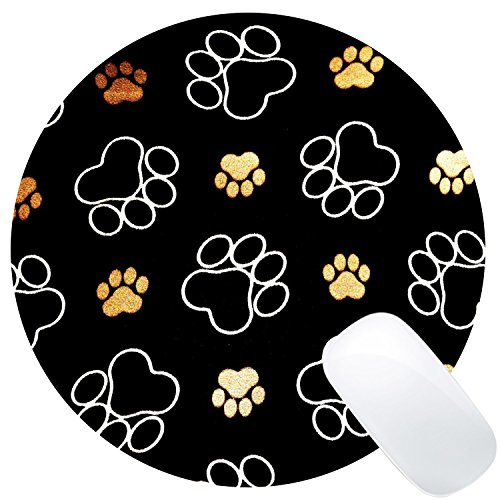 Wknoon Dog Paw Prints Mouse Pad (Dog Round Mouse Pad)