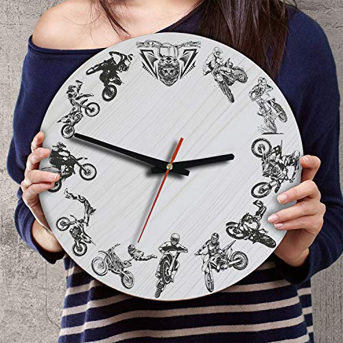 (VTH Global 12 Inch Silent Battery Operated Motocross Dirt Bike Wood Wall Clocks Gifts for Riders Bikers Lovers Men Boys)