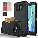 Samsung Galaxy S6 Edge+ /Plus Case, AnoKe[Card Slots Holder][Not Wallet] Hard Silicone Rubber Hybrid Armor Shockproof Protective Case For Samsung Galaxy S6 Edge Plus G928 KLS Black