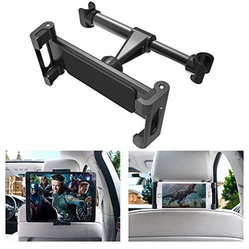 INTLIFE Car Seat Headrest Tablet Mount, Universal Mount Holder for iPad, Samsung, Switch, Kindle Fire, Fits All 4.7 to 12.9 inch Smartphones and Tablets (Upgrade-Black) by INTLIFE