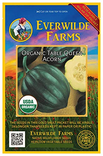 Everwilde Farms - 20 organic Table Queen Acorn Winter Squash Seeds - Gold Vault Packet