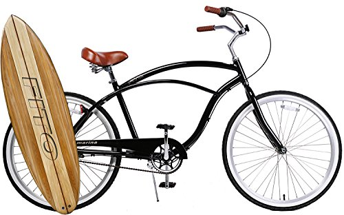 Anti-Rust Light Weight Aluminum Alloy Frame Fito Marina alloy Shimano Nexus 3 speed 26″ wheel mens beach cruiser bike bicycle black with brown seat For Sale