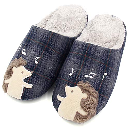 Blue Woolen Slippers G Unisex Embroidered ALOTUS Hedgehog Indoor Animal Warm Cute with Soft U4PB5qn6