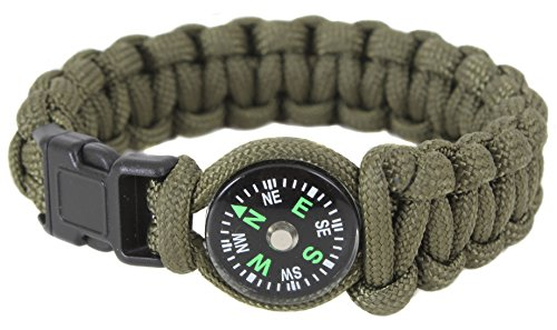 (Rothco Paracord/Compass Bracelet, Olive Drab, 7'')