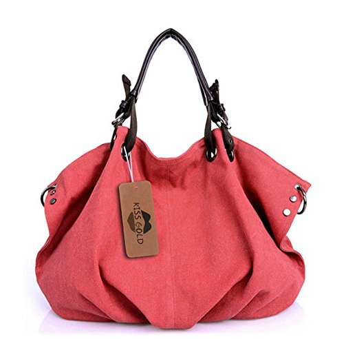 - KISS GOLD(TM) European Style Canvas Large Tote Top Handle Bag Shopping Hobo Shoulder Bag, Size 22 '' X6.3'' X 14.2 ''(Red)