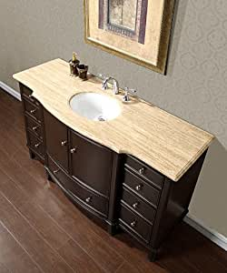 60 Quot Single Sink Travertine Top Bathroom Vanity Cabinet