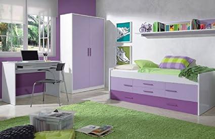 Mobimarket - Dormitorios Juveniles en blanco y lila - DORMITORIOS ...