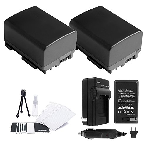 BP-808/809 Battery 2-Pack Bundle with Rapid Travel Charger and UltraPro Accessory Kit for Select Canon Cameras Including FS10, FS100, FS11, FS20, FS200, FS21, FS22, FS30, FS300, and FS31 by UltraPro