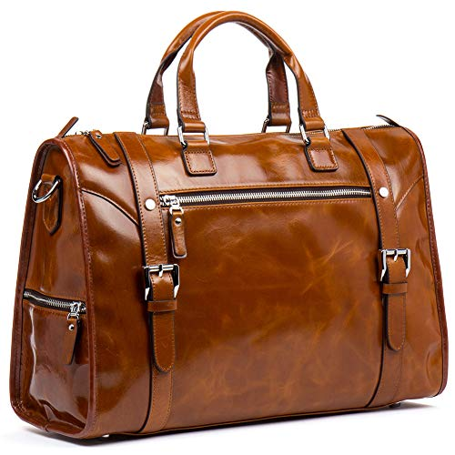 MANTOBRUCE Leather Briefcase Weekender Overnight Duffel Bag Gym Sports Luggage Bags for Men ()