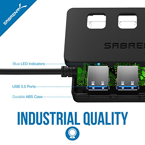 Sabrent 4-Port USB 3.0 Hub with Individual LED Lit Power Switches, Included 5V/2.5A power adapter (HB-UMP3) by Sabrent (Image #6)