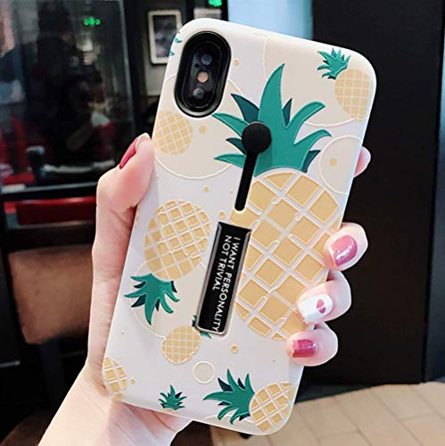 iPhone Xs Max Case with Finger Grip,YTamazing 3D Embossed Flowers Design Rugged Shockproof Slim Fit Dual Layer Finger Ring Loop Strap Case with Finger Strap for Apple iPhone Xs Max (Pineapple)
