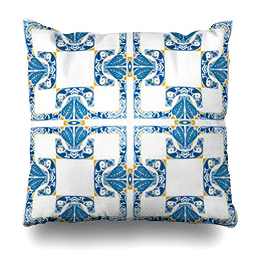 (Decor Champ Throw Pillow Covers Style Like Portuguese Yellow Spanish Blue Orange Tiles Moroccan Abstract Tiled White Home Decor Sofa Pillowcase Square Size 20 x 20 Inches Cushion Cases)