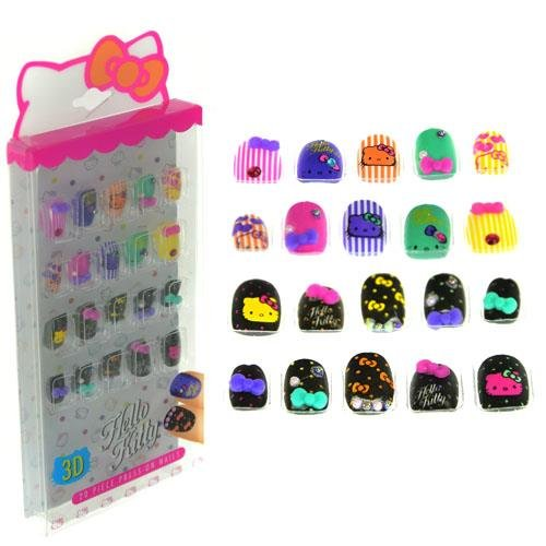 Hello Kitty Cosmetic Set - SANRIO Hello Kitty 20 Piece Press on Nails for Kids Cosmetics Set