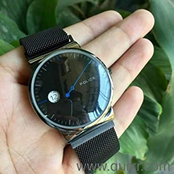 Watch For Mens By Lovely Looks Police Brand Black Safer Magnet Belt Ultra Slim Black Dial Mens Watches