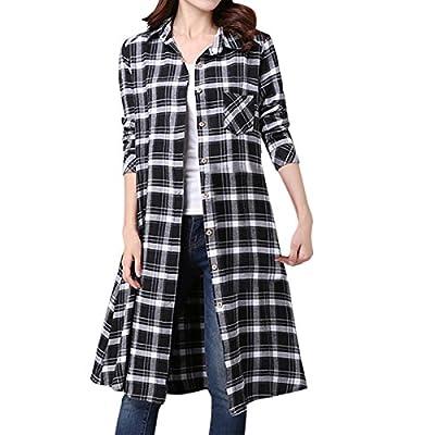 Cekaso Women's Button Down Shirt Checkered Boyfriend Collared Long Sleeve Shirt