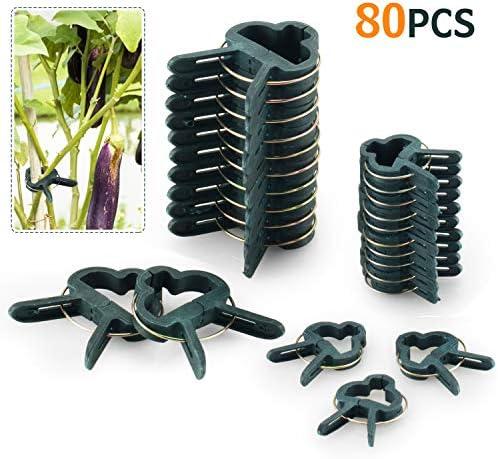 FORMIZON 80 Stück Pflanzenclips Stabile Clips Pflanzenklammern für Pflanzen Sicherung Unterstützt Einzupflanzen Rosenbögen Rankhilfen (40 große + 40 kleine)