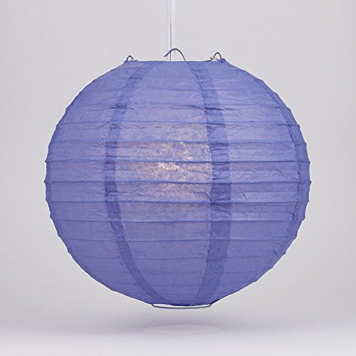 "PaperLanternStore.com 24"" Astra Blue Round Paper Lantern, Even Ribbing, Hanging Decoration"
