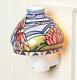 "Roman Inc. 4""h Dragonfly & Water Lily Ceramic Nightlight"