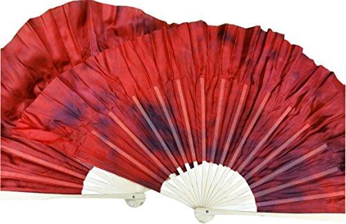 - Winged Sirenny 1pair (1R+1L=2PCS) Chinese Short Silk Dance Fan, 30cm (12