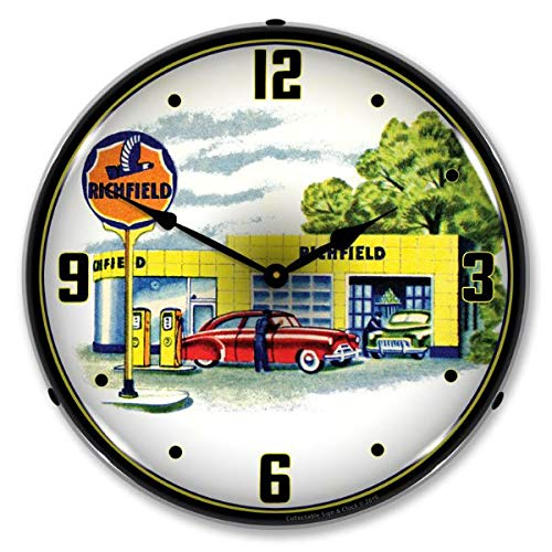 The Finest Website Inc. New L.E.D. Richfield Station 1960s - Retro Vintage Style Advertising LED Lighted Clock - Ships Free Next Business Day to Lower 48 U.S. States