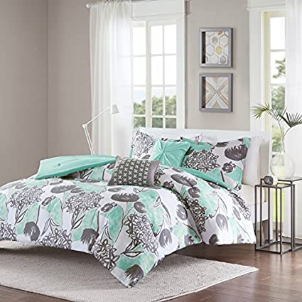 Amazon.com: 5 Piece Girls Mint Grey Floral Theme Comforter Full ...