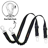 iBuddy Dog Seat Belts for Cars of Medium/Large Dogs, Adjustable Pet Seat Belt for Dog Harness with Dual Safe Bolt Hook and Elastic Durable Nylon Dog Safety Belt for Car (2 Pack)