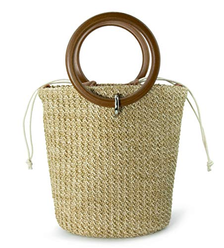 Straw Bucket Ring Handle Handbag Clutch Drawstring Cross Body Bag (Brown)