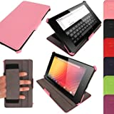 iGadgitz Luxury Executive Pink PU Leather Case Cover for Google Nexus 7 FHD 2013 Model 2nd Generation With Auto Sleep Wake + Hand Strap + Multi Angle Viewing Stand + Screen Protector