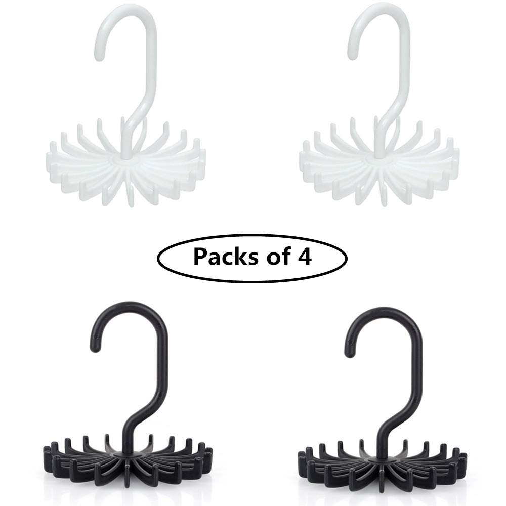 4 Pack Tie Rack, Belt Hanger Holder Organizer for Closet Storage Or Travel Use, with 20 Non-Slip Plastic Hooks, 360° Rotating, 2 White, 2 Black 360° Rotating Union Tesco