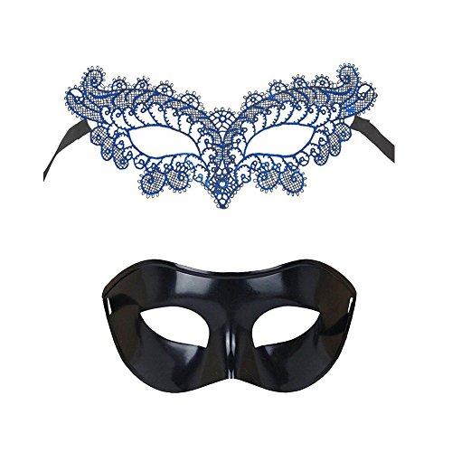 Trimengo Masquerade Mask for Couples Mardi Gras Mask Venetian Costume Halloween Party -
