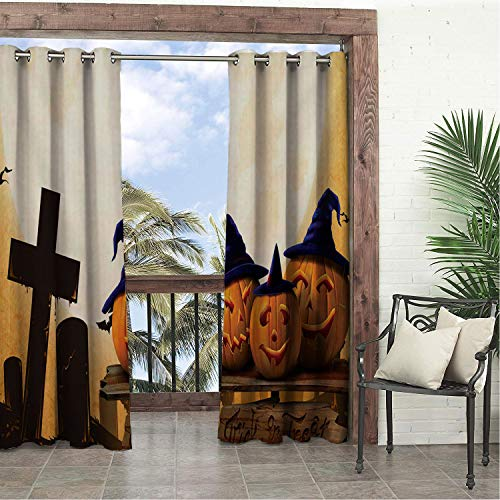 Garden Waterproof Curtains Halloween Moon Pumpk Lantern Tombstone 9 Porch Grommets Print Curtains 96 by 84 inch -