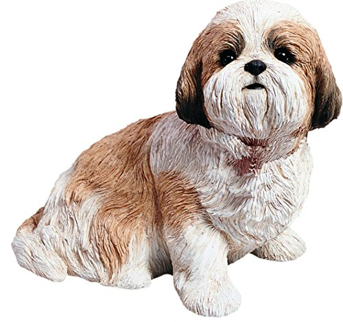 Sandicast Life Size Gold and White Shih Tzu Sculpture, Sitting (Sitting Life)