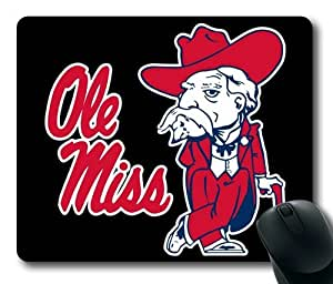 Ole Miss Rebels Logo on Black Rectangle Mouse Pad by eeMuse