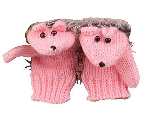 SportsWell Women's Cartoon Hedgehog Winter Knitted Cotton Gloves Girls' Cute Thick Mittens Pink