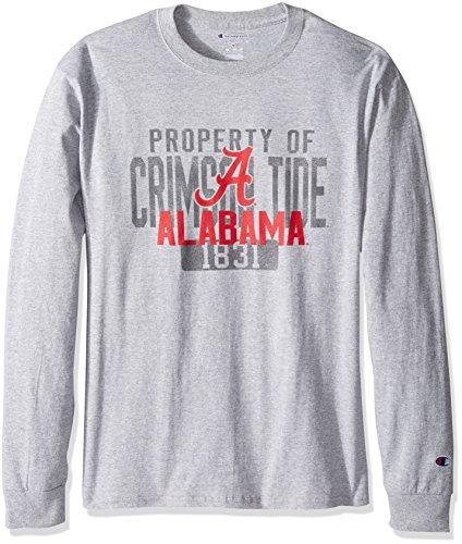 Champion NCAA Men's Long Sleeve Lightweight T-shirt Officially Licensed 100% Cotton Tagless Tee Alabama Crimson Tide Large