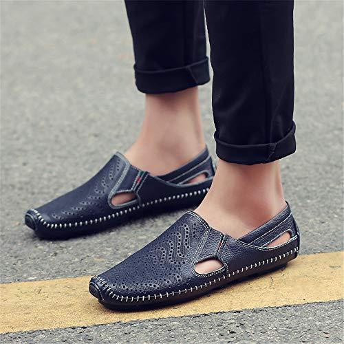 Hombres Hechos conducción Zapatos Mano para Genuino a tamaño los Holgazanes Ahuecan para Qiusa Azul Hombre de 43 los EU Color de Ocasionales Cuero Td7qxvIwE