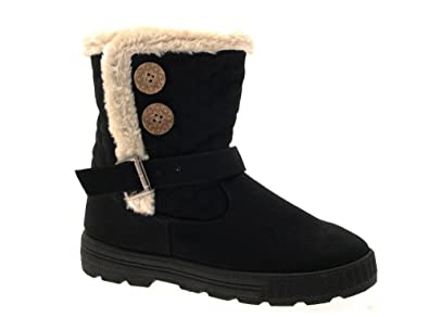 38140f8fcd5 LD Outlet NEW WOMENS COMFORT FUR LINED QUILTED ANKLE SNOW BOOTS WINTER WARM  VELCRO RIDING BIKER FLAT GIRLS LADIES SHOES BLACK SIZE UK 3  Amazon.co.uk   Shoes ...