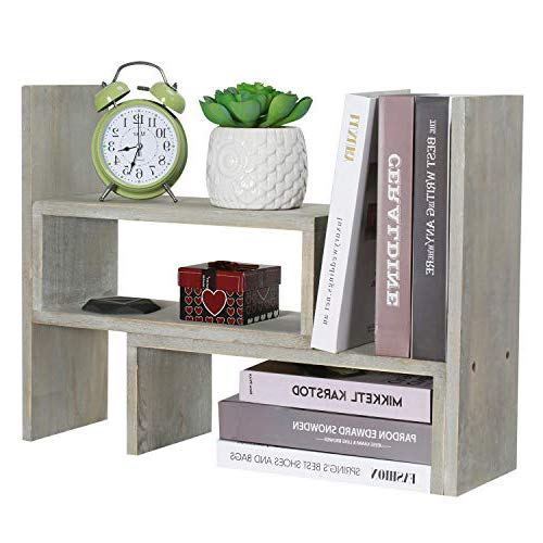 NEX Adjustable Desktop Bookshelf, Counter Top Organizer Display Bookcase, Gray