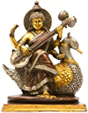 Exotic India ZDP54 Goddess Sarasvati Statue Antique Gold Silver
