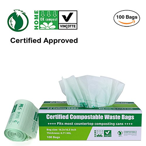 Primode 100% Compostable Bags 2.6 Gallon Food Scraps Yard Waste Bags, Extra Thick 0.71 Mil. ASTMD6400 Biodegradable Compost Bags Small Kitchen Trash Bags, Certified By BPI And VINCOTTE, (100) (Biodegradable Kitchen Trash Bags)