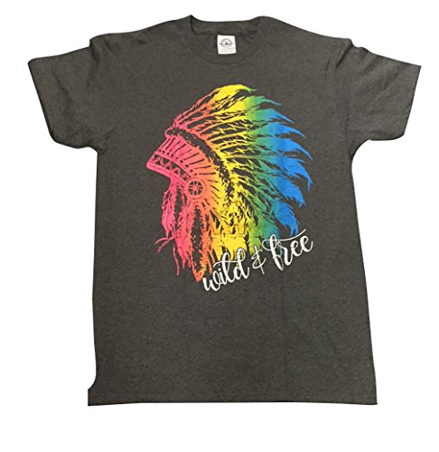 Free Spirit Native American Rainbow HeaddressT Shirt, Cool Summer Shirts, Native American, Hippy Yoga Tee, Boho Top (Small)