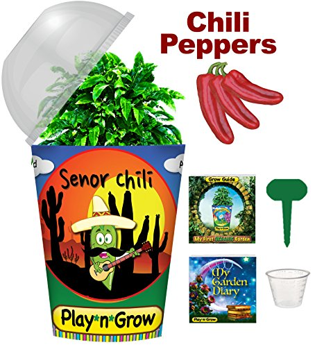 Children's Organic Plant Kit - Senor Chili Window Garden (not hot) - Complete Indoor Grow Set - Seeds, Soil, Planter, Greenhouse Dome, Water Tray & Cup, Growing Guide, Diary. Unique Educational Gift.