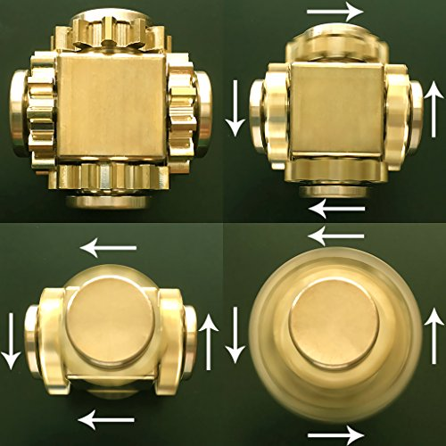 Wewinn Pure Brass Fidget Cube Gears Linkage Fidget Toy Metal DIY EDC Focus Meditation Break Bad Habits ADHD (Brass) by Wewinn (Image #4)