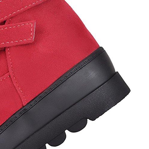 AllhqFashion Damen Rein PU Mittler Absatz Rund Zehe Ziehen auf Stiefel Rot