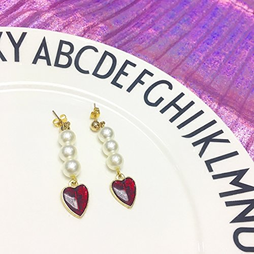 usongs Handmade cold also 114 sweet cross Epoxy love pearl earrings personality