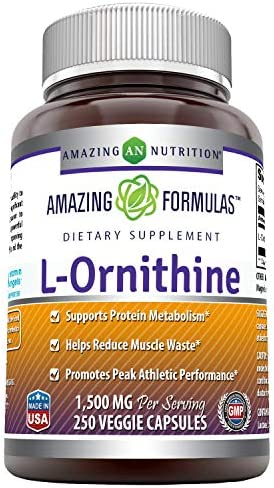 Amazing Formulas L-Ornithine 1500 mg Per Serving Veggie Capsules Non-GMO – Supports Protein Metabolism, Helps Reduce Muscle Waste, Promotes Peak Athletic Performance* 250 Count