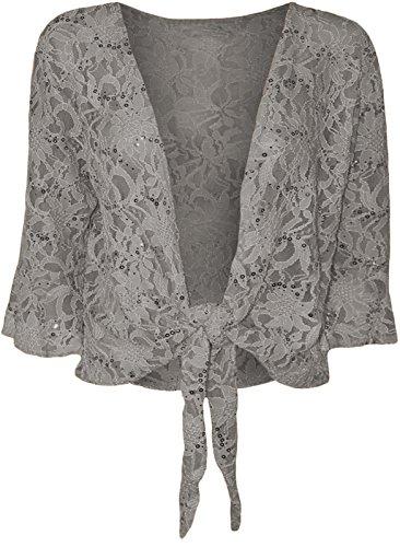 Dentelle Top Paillettes Top Fashion's Bolero Dames Femme Cravate Ywa1Ix76q