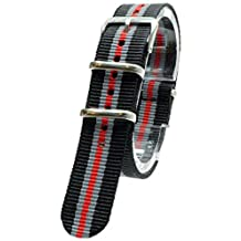 [2PiS] Nato Nylon ( Black / Grey / Red : 18mm ) Interchangeable Replacement Watch Strap Band 121-1-18