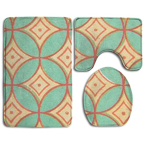 NEW Copper Coin Shape Wallpaper 3 Piece Bathroom Mats Set Non-Slip Bathroom Rugs/Contour Mat/Toilet Cover (Coin Set Woven)